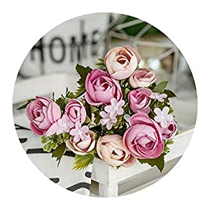 Jamais-Vu 1 Bundle Silk Tea Roses Artificial Fake Flowers,4 14