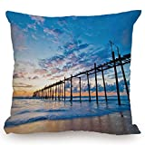 Throw Pillow Cushion Cover,Nature,Sunset and Old Wood Bridge Phang nga Thailand Beach Tourism Attractions Romantic,Blue Peach,Decorative Square Accent Pillow Case