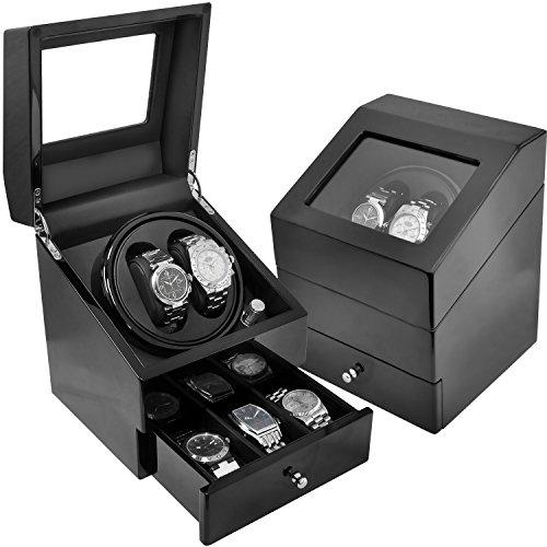 벨 소 【7색에서 선택할 수 있다】 시계 와인딩 머신 2개 감음 정음 설계 수납BOX부착 VS-WW022 (블랙×블랙)