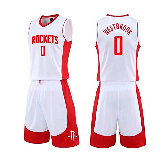 CCKWX Mens Jersey Rockets 0# Russell Westbrook Jersey,Cool Breathable Fabric Basketball Jersey,Sportswear Unisex Sleeveless T-Shirt