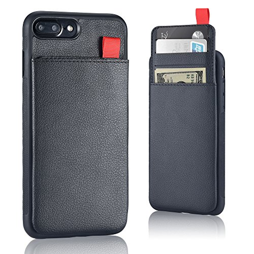 Price comparison product image iPhone 8 Plus, iPhone 7 Plus Wallet Case - [Hidden Wallet Phone Case] MANGATA TRITON iPhone 7 Plus/8 Plus Wallet Case, Rugged Shell, Leather Card Holder & Cash Pocket, FREE Screen Protector [Black]