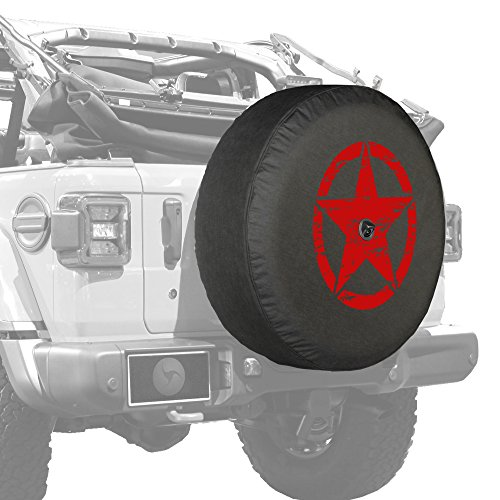 Boomerang – 32″ Soft JL Tire Cover for Jeep Wrangler JL (with Back-up Camera) – Sport & Sahara (2018-2020) – Distressed Star – Red Print – Made in The USA