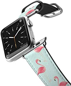Casetify Bands Compatible for Apple Watch Bands 38mm 42mm with Silver Stainless Steel Buckle Replacement Band for iWatch Apple Watch Series 4 Series 3 Series 2 Series 1 (Flamingos)