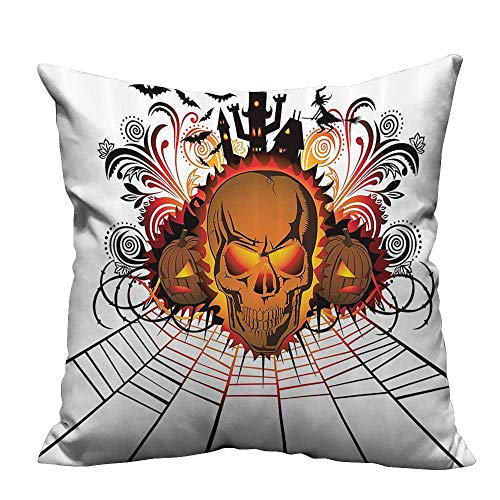 Throw Pillow Cover for Sofa Kull ce Bfire Effect Spirits of Other World Ccept Bats and Spider Web Halloween Textile Crafts 31.5x31.5 inch(Double-Sided -