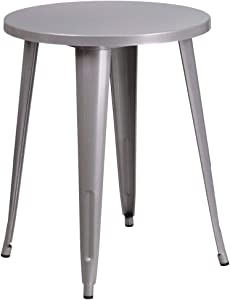 """Flash Furniture Commercial Grade 24"""" Round Silver Metal Indoor-Outdoor Table"""