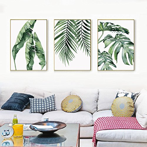 Banana Palm Wall Art - Trend Watercolor Banana, Palm & Monstera Leaf Canvas Print, Wall Art, Poster, Airbnb Home Decor. Sofa / Cafe / Office / Hotel Painting, Housewarming Gift. 3pcs. Unframed. (60 x 80 cm / 23.6 x 31.5 in)