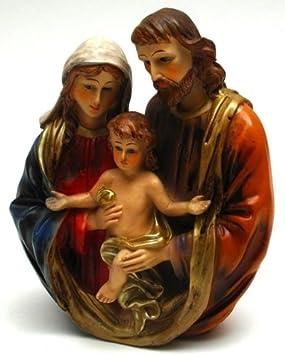 HomeCrafts4U Holy Family Statue Figurines Set Christmas Centerpiece Decor Mary Baby Jesus Joseph Resin Figurines Catholic Religious Contemporary Ornament