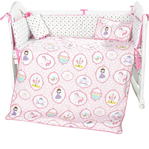 i-baby 3 Piece Crib Bedding Set Nursery Baby Bedding Set 00% Cotton Printed Sheet Duvet Pillow Bumper Cot Sets for Boys or Girls (pink) from i-baby