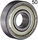Fifty (50) 608ZZ 8x22x7 Shielded Greased Miniature Ball Bearings