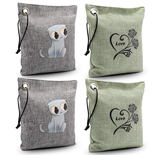datonten Bamboo Charcoal Air Purifying Bag Natural Air Freshener, Odor Eliminators for Home, Bedrooms, Kitchen, Bathroom, Fridge, Closet, Car and Pet Areas (4 Pack 200G)