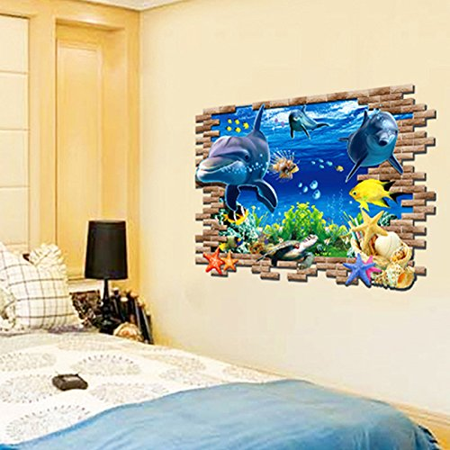 3d dolphin turtle underwater world vinyl wall decal pvc for Wallpaper for bedroom amazon