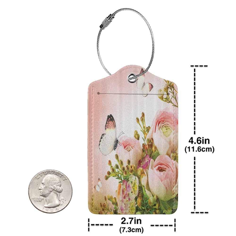 Flexible luggage tag Floral Pink Decor Roses and Flower Buds Leaves in Bouquet with Butterflies for Mothers Day Girls Print Fashion match Light Pink and Green W2.7 x L4.6