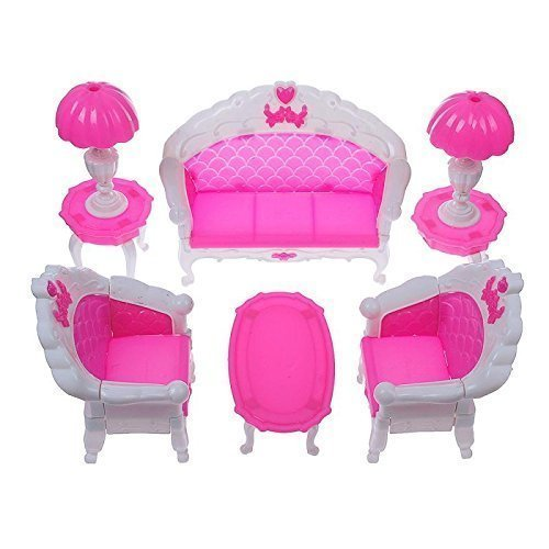 Qiyun 7pcs Fashion Dressing Table And Chair Set For Barbies Dolls Bedroom Furniture
