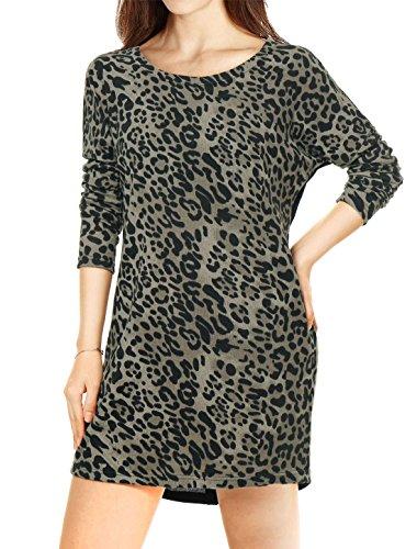 (Allegra K Women's Scoop Neck Drop Shoulder Printed Tunic Knit Shirt Gray S (US 6))