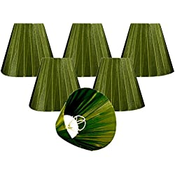 "Royal Designs CS-1015-6GRN-6 Clip On Organza Empire Chandelier Lamp Shade, 3"" x 6"" x 4.5"", Emerald Green, Set of 6"