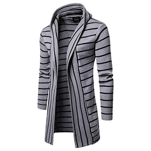 Realdo Mens Striped Long Trench Clearance Sale,Casual Business Solid Knit Coat Cardigan Long Sleeve -