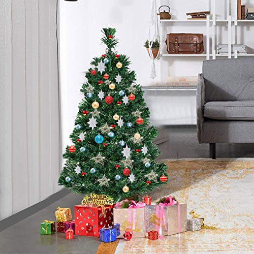 CASART 3FT | 4FT | 5FT |6FT Artificial Christmas Tree with Fiber Optic, Lightweight, Xmas Decoration with Stand, Indoor & Outdoor, Green (3FT)