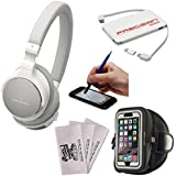 Audio-Technica ATH-SR5BT Wireless On-Ear High-Resolution Headphones (White) + 5000mAh Charger + Sports Armband Case + Kit