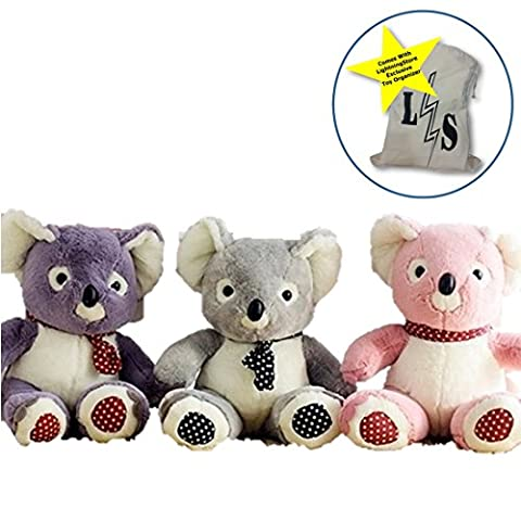 LightningStore Cute Colorful Pink Gray Grey Purple Koala Doll Realistic Looking Stuffed Animal Plush Toys Plushie Children's Gifts Animals + Toy Organizer Bag - Doug Plush Border Collie