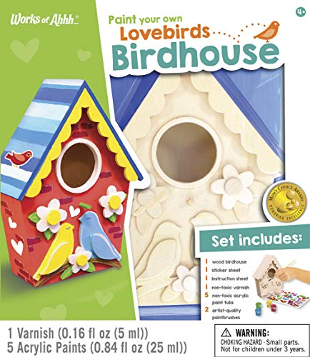 MasterPieces Works of Ahhh Real Wood Large Acrylic Paint & Craft Kit, Birdhouse with Lovebirds, Mom's Choice Award, for Ages 4+