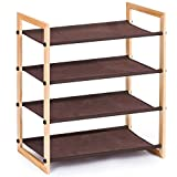 MaidMAX 903041 4 Tiers Wooden Rack Shelf for 12 Pairs of Shoes Storage, Stackable