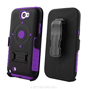 Black/Purple Tri Shield Combo Case with Holster Beltclip for Samsung Galaxy Note 2 / II
