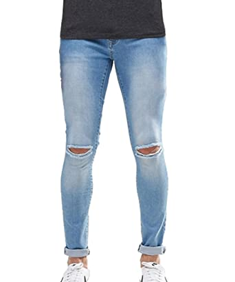 586d1631286 Men s Light Washed Denim Super Skinny Fit Jeans with Knee Slit in Slim Leg  at Amazon Men s Clothing store