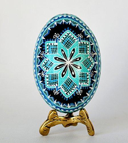 Best selling Blue Pysanka egg, chicken egg hand painted, Ukrainian Easter egg