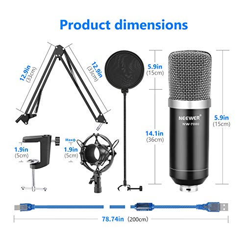 Neewer USB Microphone Kit for Windows and Mac, Includes Suspension Scissor Arm Stand, Shock Mount, Pop Filter, USB Cable and Table Mounting Clamp for Broadcasting and Sound Recording (Black & Silver)