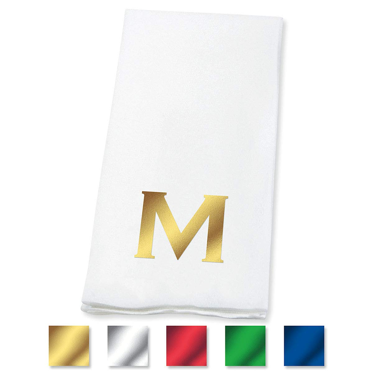 Lillian Vernon Copperplate Personalized Monogram Linen-Like Hand Towels (Set of 100)- 50% Cotton 50% Paper Blend, 13'' x 17'' Open and 4 1/2'' x 8 1/2'' Closed, Great for Weddings and Dinner Parties