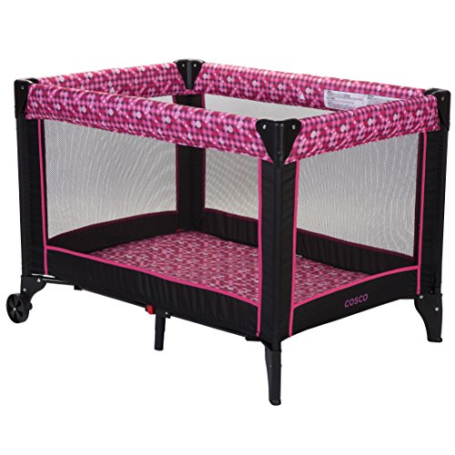 - Portable Playard for (Baby Girl & Baby Boy) with Feet & Wheels Folding Durable Frame. Infant Playpen Quick, Compact Foldable w/Padded Floor Lightweight (Birthday Babyshower Gift) (Disco Ball Berry)