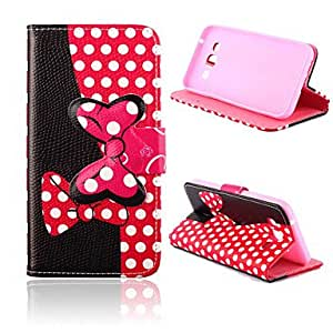 Bowknot Pattern PU Leather Case with Stand for Samsung Galaxy E5