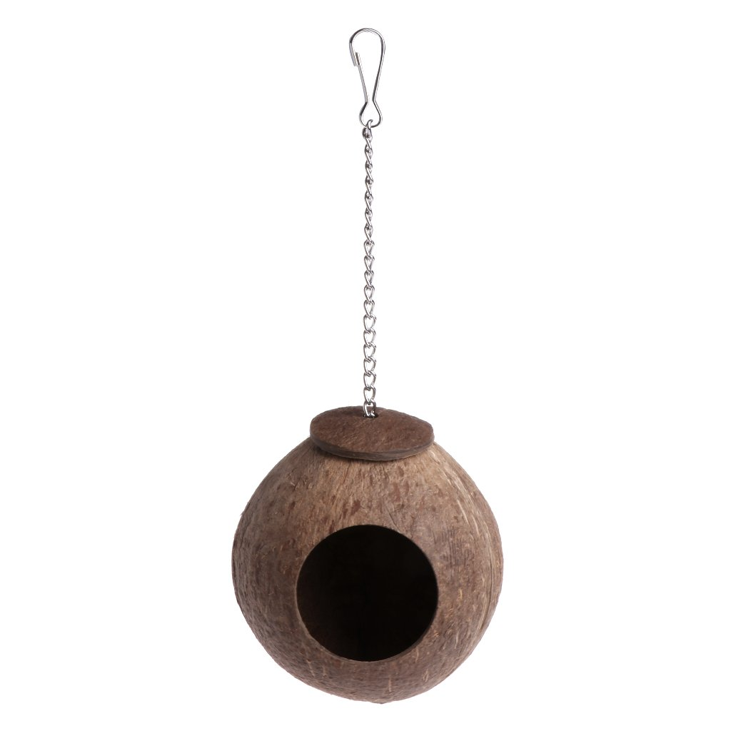 Doober Natural Coconut Shell Bird Nest House, Hut Cage Feeder Toy For Pet Parrot Budgie Parakeet Cockatiel Conure
