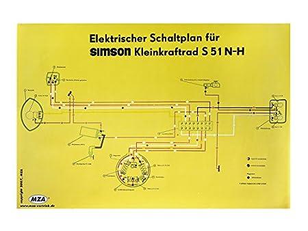 MZA Schaltplan Farbposter (69x49cm) Simson S51 N-H: Amazon.de: Auto