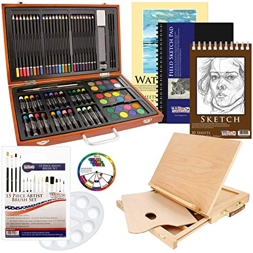 US Art Supply 82 Piece Deluxe Art Creativity Set in Wooden Case, Wood Desk Easel and Bonus 20 Additional Pieces - Deluxe Art - Deluxe Acrylic Easel