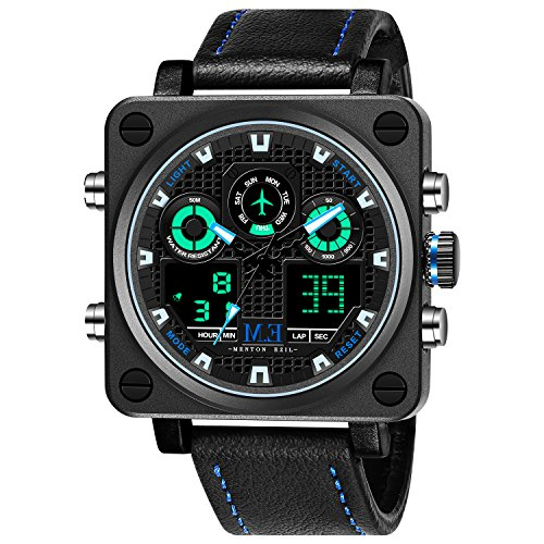 Menton Ezil Mens Unique Sport Digital Watch 50M Waterproof Square Dial Big Face Watches Led Backlight Display Alarm Stopwatch Electronic Wristwatch With Comfortable Black Leather Strap