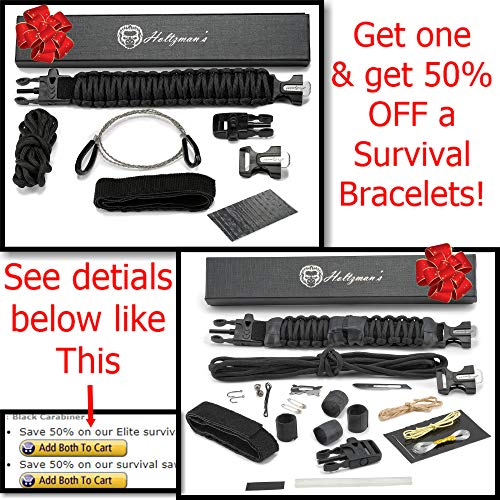 Ultimate 5-in-1 Paracord Keychain with Carabiner for Camping, Fishing, Hunting & Outdoor Emergencies | Multipurpose Survival Tool with Paracord, Emergency Whistle, Flint Rod, Cutting Tool & Key Ring by Holtzman's Gorilla Survival (Image #5)