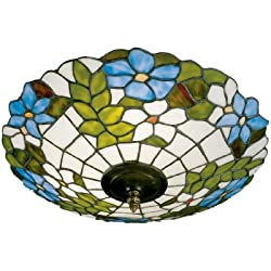 Dale Tiffany 3660/3LTF Wisteria Flush Mount Light, Antique Brass and Art Glass Shade