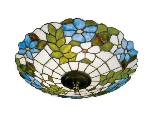 Art Shade Flush Mount (Dale Tiffany 3660/3LTF Wisteria Flush Mount Light, Antique Brass and Art Glass Shade)