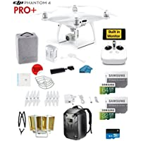 DJI Phantom 4 PRO Plus Quadcopter Drone with 1-inch 20MP 4K Camera KIT with Built In monitor + 64/32GB Micro SDXC Cards + Reader 3.0 + Guards + Harness + Range Extender + Charging hub + Backpack