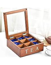 Fonture Wood Tea Storage Box, Teabag Storing 9 Compartments Wooden Tea Box Hinged Glass Lid Tea Organizer-Brown