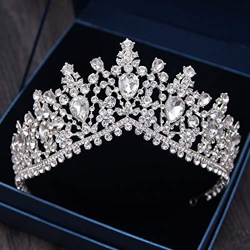 Mariott - Silvery Inlay Shine Rhinestone Ornaments Tiaras Princess Crowns for Women Bridal Weddings Hair Jewelry Accessories