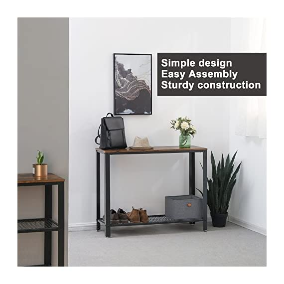 VASAGLE Console Table, Sofa Table, Metal Frame, Easy Assembly, for Entryway, Living Room, Rustic Brown ULNT80X - Vintage elegance: slightly rustic and stunningly simplistic, This eye-catching piece is a decorative accent to your home while being practical for use in all rooms Always in full play: Works great as a console table, sofa table, or Entry table in your entryway; also great in hallways, living rooms-even in your office as a space-saving desk A Breeze to set up: tighten the screws in position, and the console table is ready to dress up your home or office - living-room-furniture, living-room, console-tables - 51odu17OYjL. SS570  -