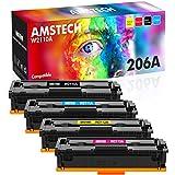 Amstech Compatible Toner Replacement for HP 206A 206X Toner Cartridges M255dw M283fdw HP Color Laserjet Pro M255dw MFP M283fdw M283cdw M282nw Printer Toner (Black Cyan Yellow Magenta, 4-Pack)