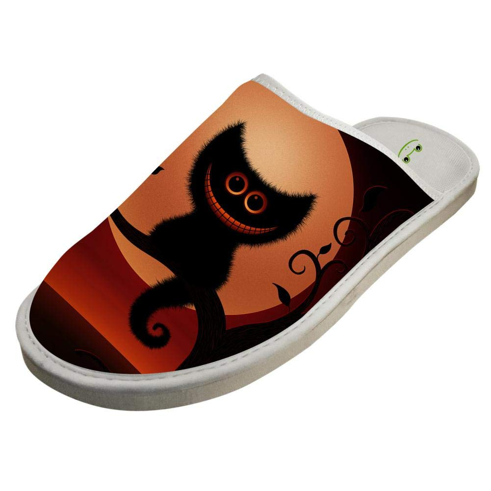 Cotton Home Slippers,Unisex Halloween Kitten Red Night Comfortable Creative Printing Lightweight Slippers for House