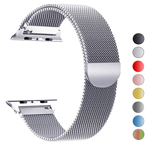 Seoaura Compatible Apple Watch Band 42mm 44mm, Stainless Steel Milanese Loop Replacement Strap with Magnetic Closure iWatch Series 4 3 2 1 Sports (Silver, 42mm)