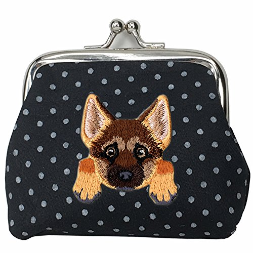 [ GERMAN SHEPHERD ] Cute Embroidered Puppy Dog Buckle Coin Purse Wallet [ Black Polka Dots ]