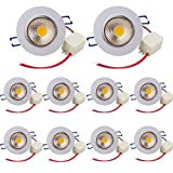 Pack of 10,Pocketman 7W 700 lumens 3.4 Inch LED COB Energy Saving Recessed Ceiling Downlight kit With LED Driver(Warm White,2800K-3000K)