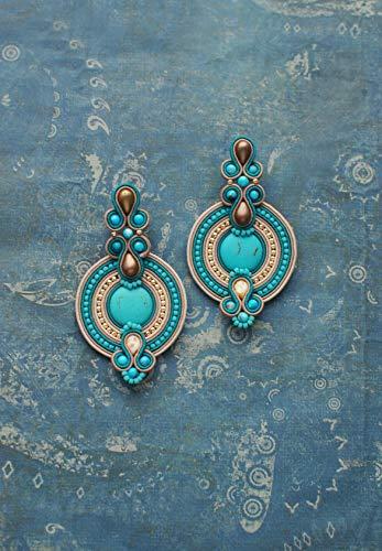 Soutache earrings in ocean colours /_ Unique earrings /_ MAURITIUS /_ Handmade jewelry soutache/_ Turquoise jewelry /_ Earrings from the heart