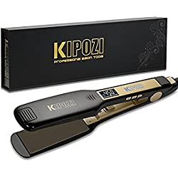 KIPOZI Professional Titanium Flat Iron Hair Straightener with Digital LCD Display,Dual Voltage,Instant Heat Up,1.75 inch wide black
